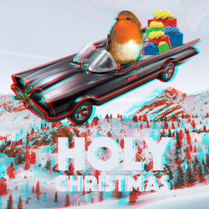 3D EFFECT Anaglyph Holy Christmas Batmobile and Robin Square Greetings Card