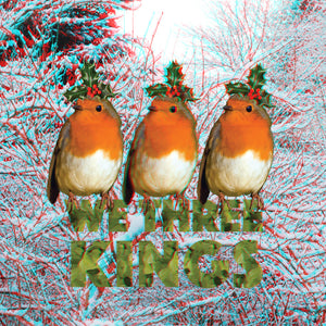 3D Anaglyph Christmas Robins We Three Kings Square Greetings Card