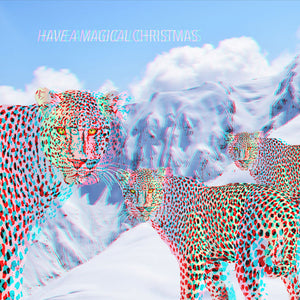 3D Anaglyph Rainbow Snow Leopards Christmas Greetings Card