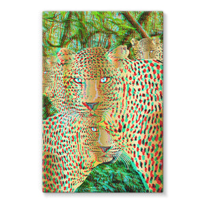 Four Gold Leopards 3D Art Print Stretched Eco-Canvas with FREE 3D Glasses to view!