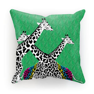 Three Giraffes on Green Cushion/Pillow