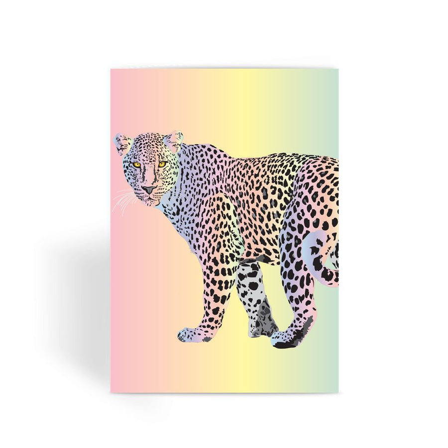 Rainbow Snow Leopard Greeting Card