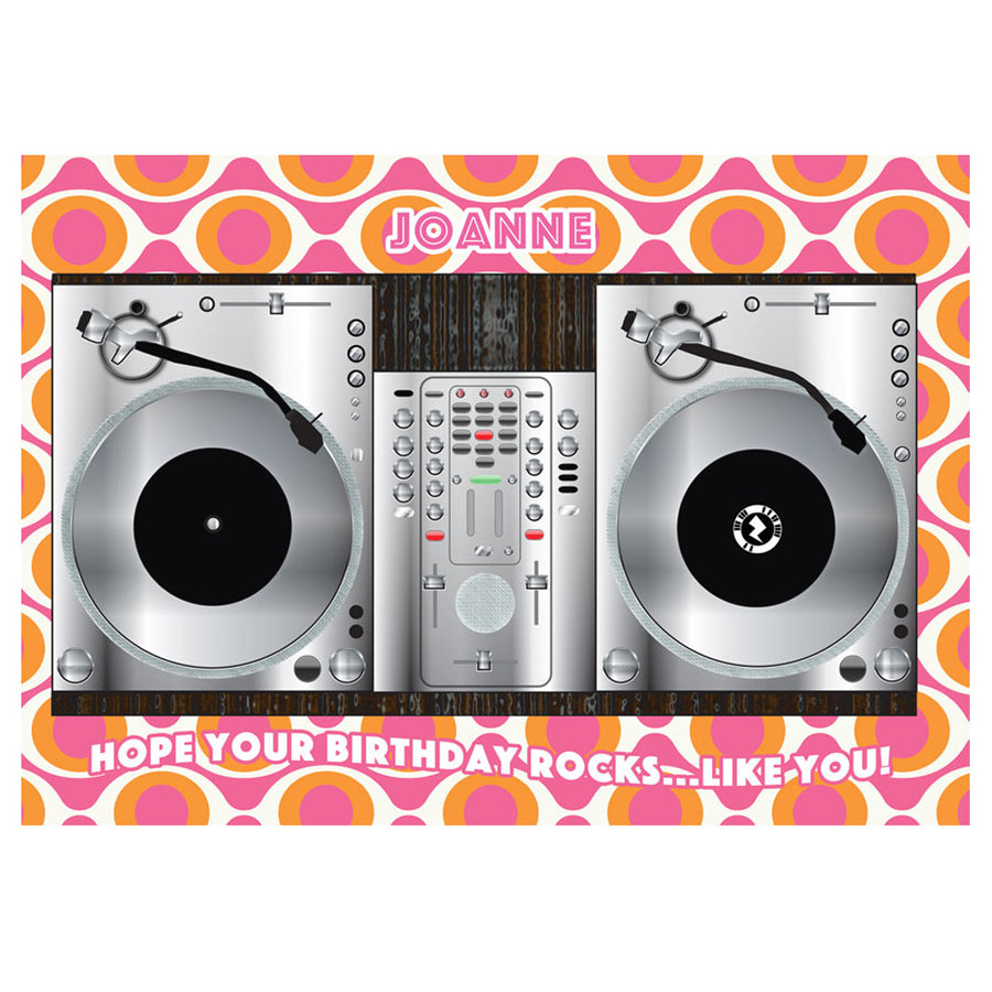 Zapz Birthday Card Retro DJ Vinyl Decks Personalised Augmented Reality Greetings