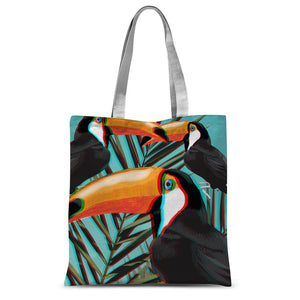 3D-Toucans-Leaves Print Design Tote Bag