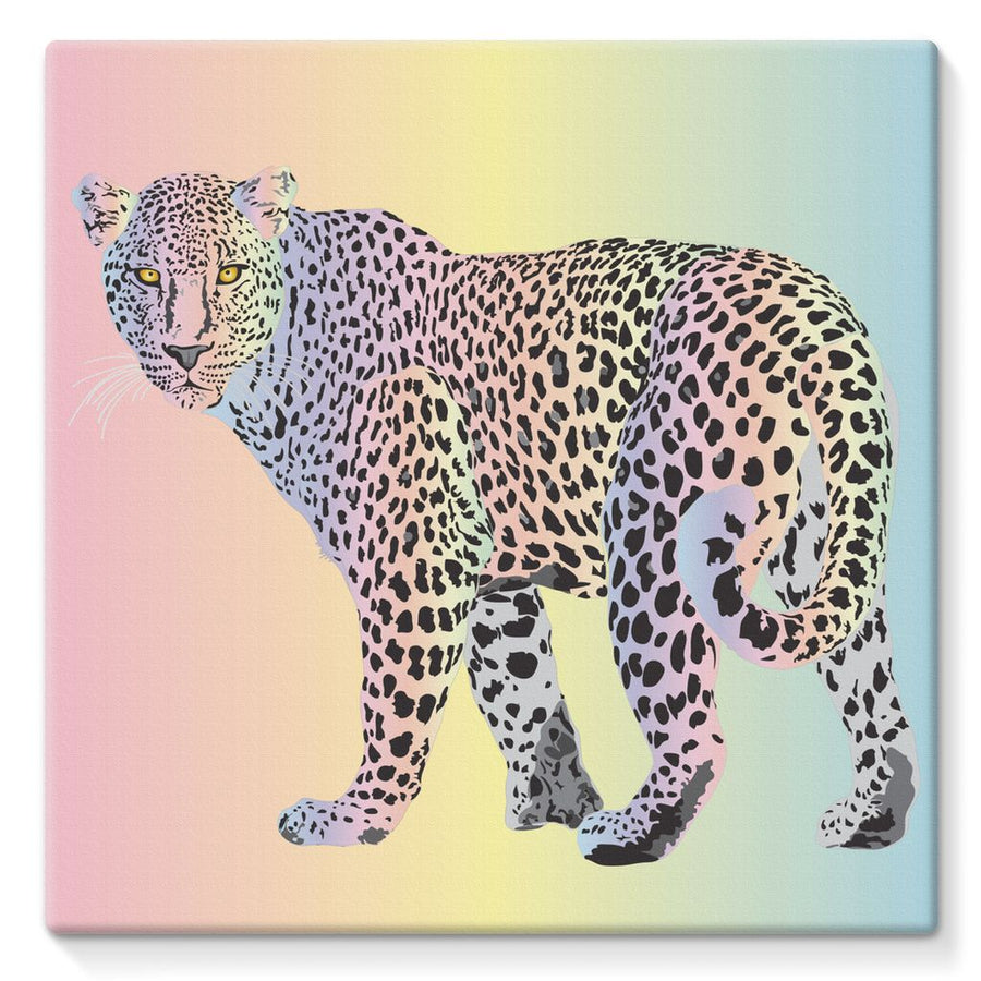Rainbow Snow Leopard Stretched Canvas Art Print