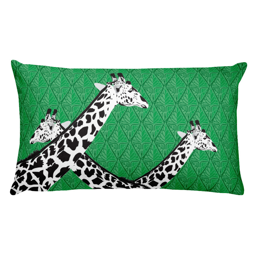 Three Giraffes on Green Rectangular Pillow