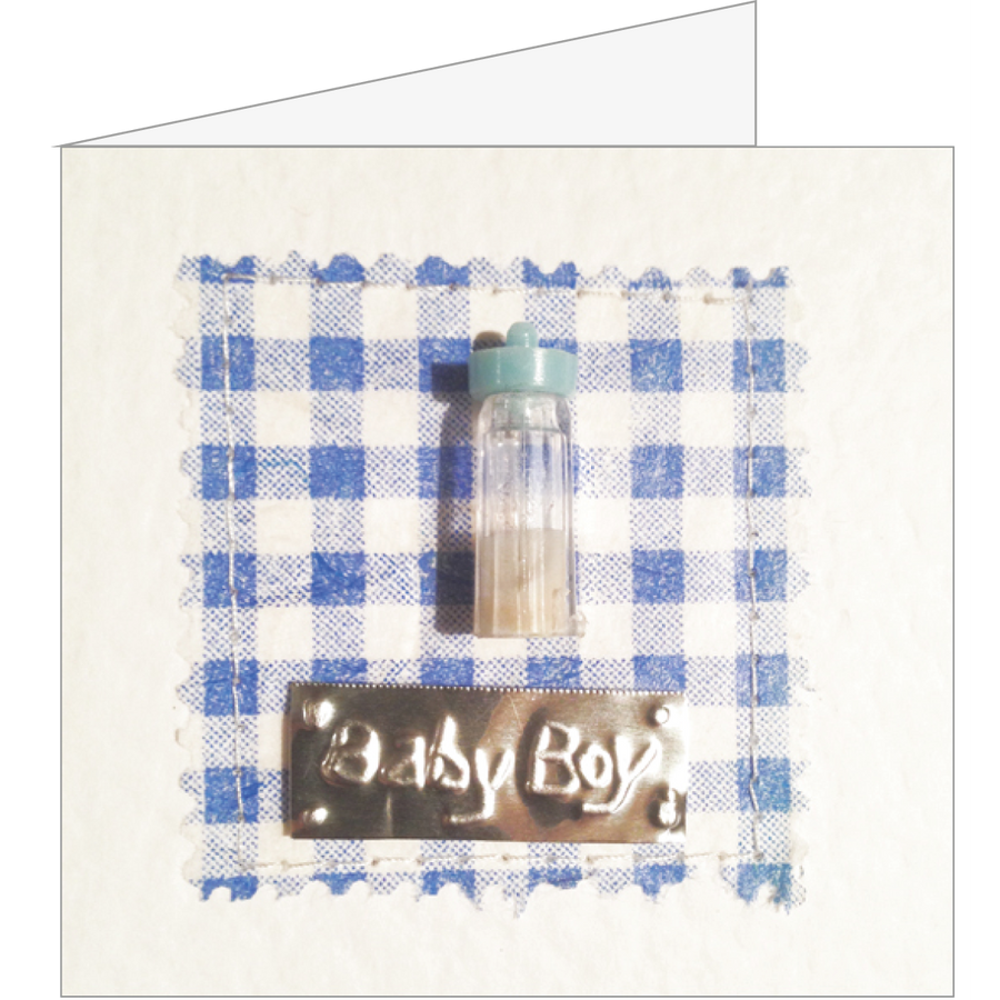 New baby boy blue bottle square greeting card