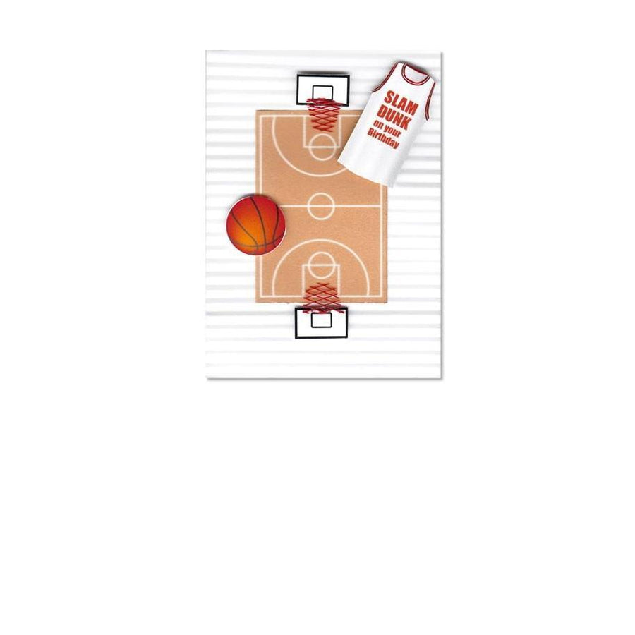 Sportz Basketball Court Slam Dunk Birthday Greeting Card