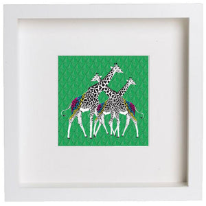 Wall Art Framed Print - Three Giraffes on Green