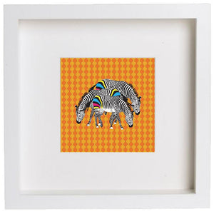 Wall Art Framed Print - Three Zebras On Orange