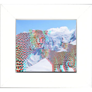 3D Effect Wall Art Framed Print - Rainbow Snow Leopards
