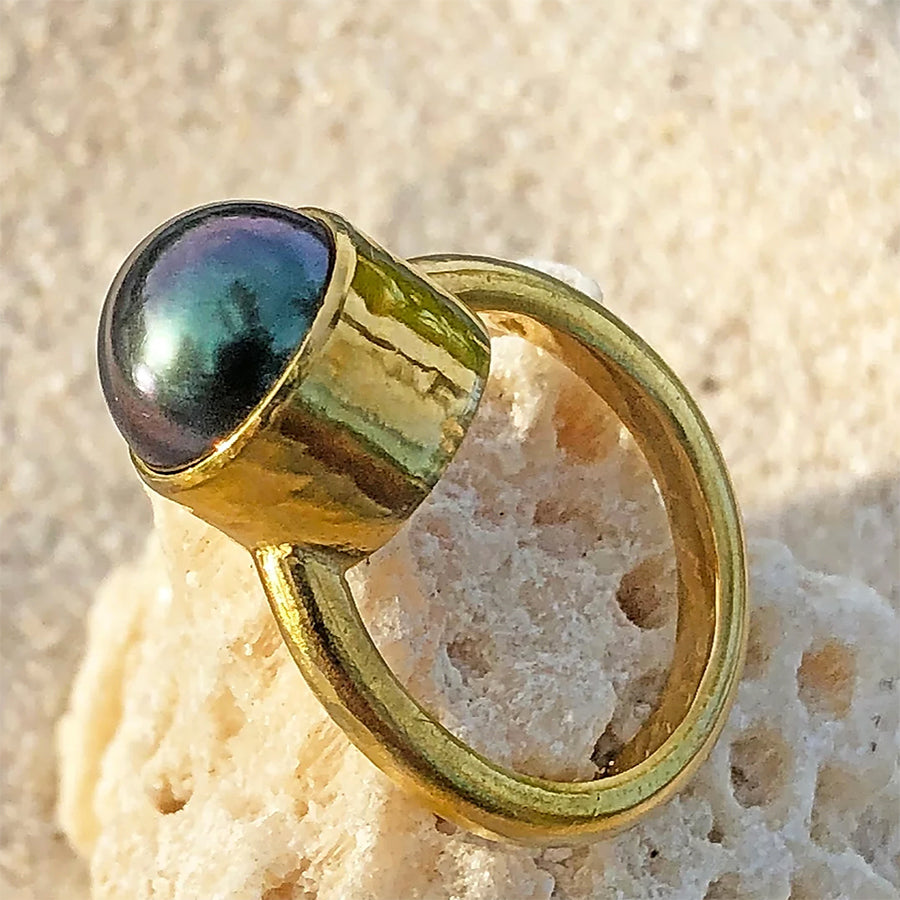 The Philippe Spencer Tahitian Black Pearl Ring 7.99