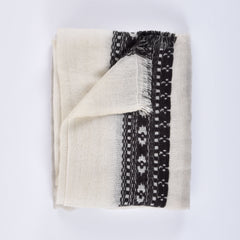 black and white himalayan cashmere scarf folded