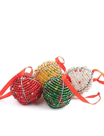 Glass Beaded Christmas Orbs