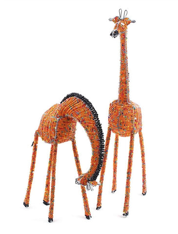 Glass beaded Giraffe Eating