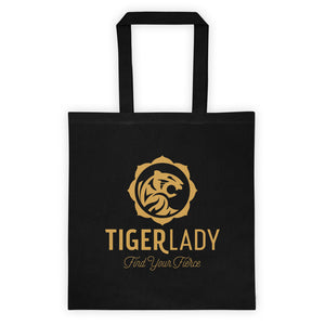 TigerLady Cotton Canvas Black Tote bag