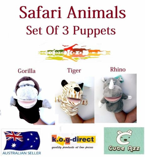 SET OF 3 CUTE AZZ PLUSH SAFARI ANIMALS HAND PUPPETS GORILLA TIGER LT RHINO B-55