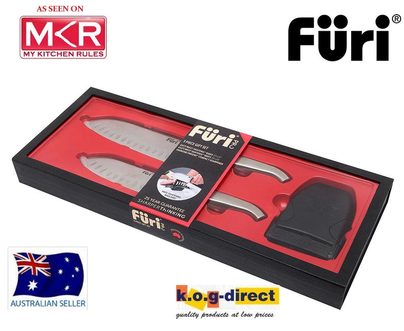 Furi Pro 3 Piece Set East West Santoku Knifes With Diamond Fingers Compact Sharpener MKR