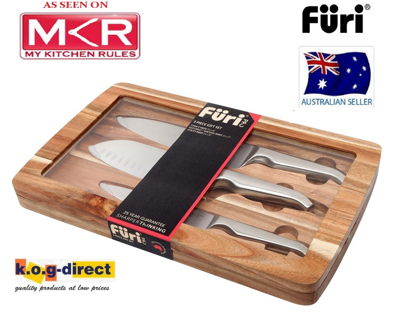 Furi 3 Piece Set Cooks Knife East West Knife Utility Knife As Seen on MKR