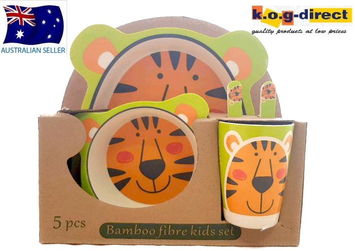 5 Piece Bamboo Fibre Kids Set Breakfast Lunch Dinner Set Tiger HW-327