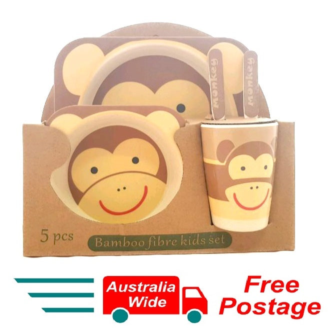 5 Piece Bamboo Fibre Kids Set Breakfast Lunch Dinner Set Monkey HW-327