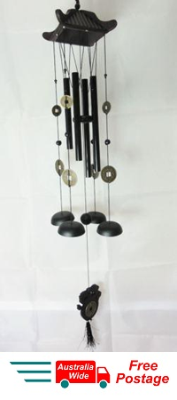 WIND CHIME LUCKY COINS WITH CHINESE WOODEN PAGODA & BLACK BRASS TUBES W32A