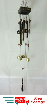 WIND CHIME LUCKY COINS WITH CHINESE WOODEN PAGODA & BRASS TUBES & BELLS FROG W30