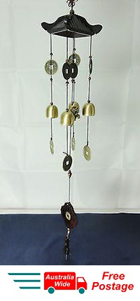 WIND CHIME BRASS LUCKY COINS WITH CHINESE WOODEN PAGODA & BRASS BELLS FROG W31