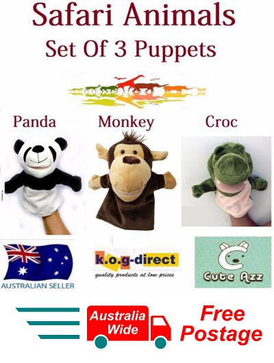 SET OF 3 CUTE AZZ PLUSH SAFARI ANIMALS HAND PUPPETS PANDA MONKEY CROC B-55