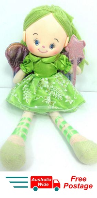 CUTE AZZ COLLECTABLE FAIRY RAG DOLL GREEN RAGDOLL 35 CM TALL HW-76