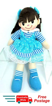 CUTE AZZ COLLECTABLE RAG DOLL BLUE DRESS RAGDOLL 35 CM TALL HW-104B
