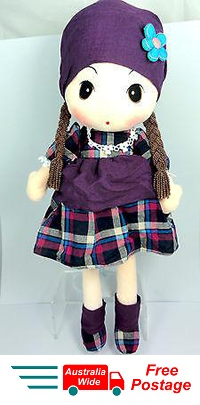 CUTE AZZ COUNTRY GIRL RAG DOLL COLLECTABLE VELVET SOFT PLUSH PURPLE 60CM HW-86