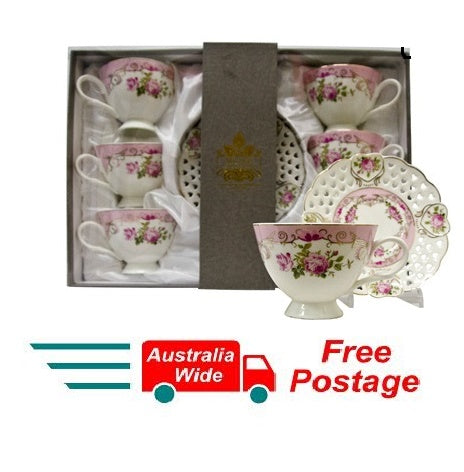 SET OF 6 ESPRESSO CUPS AND 6 SAUCERS BONE CHINA WHITE AND PINK RM1010