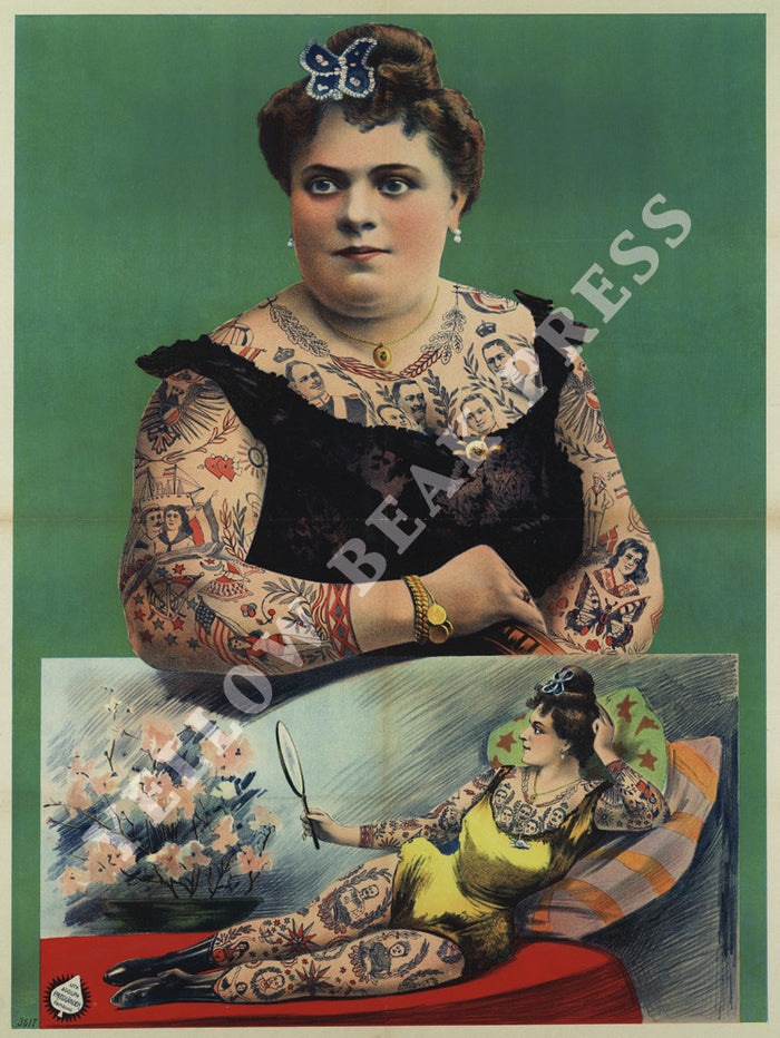 Vintage Tattooed Woman Portrait Poster Print