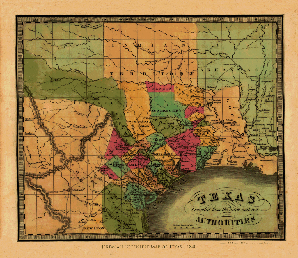 Greenleaf's Map of the Republic of Texas - 1840