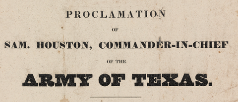 General Houston's Proclamation - 1835