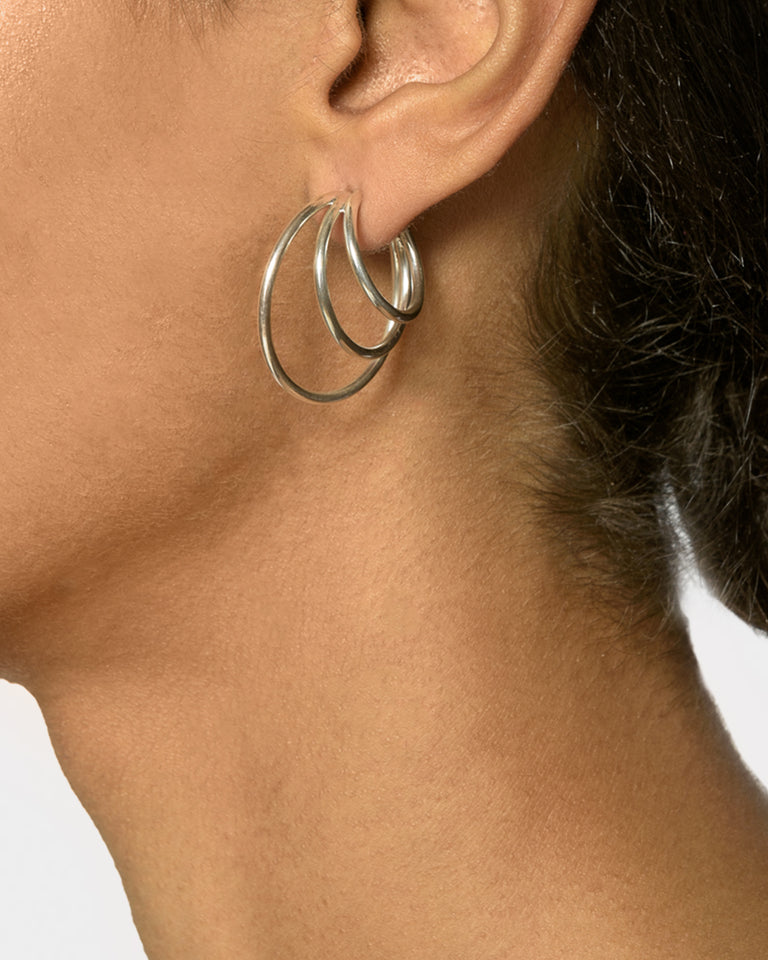 Triple Layered Hoops in Sterling Silver