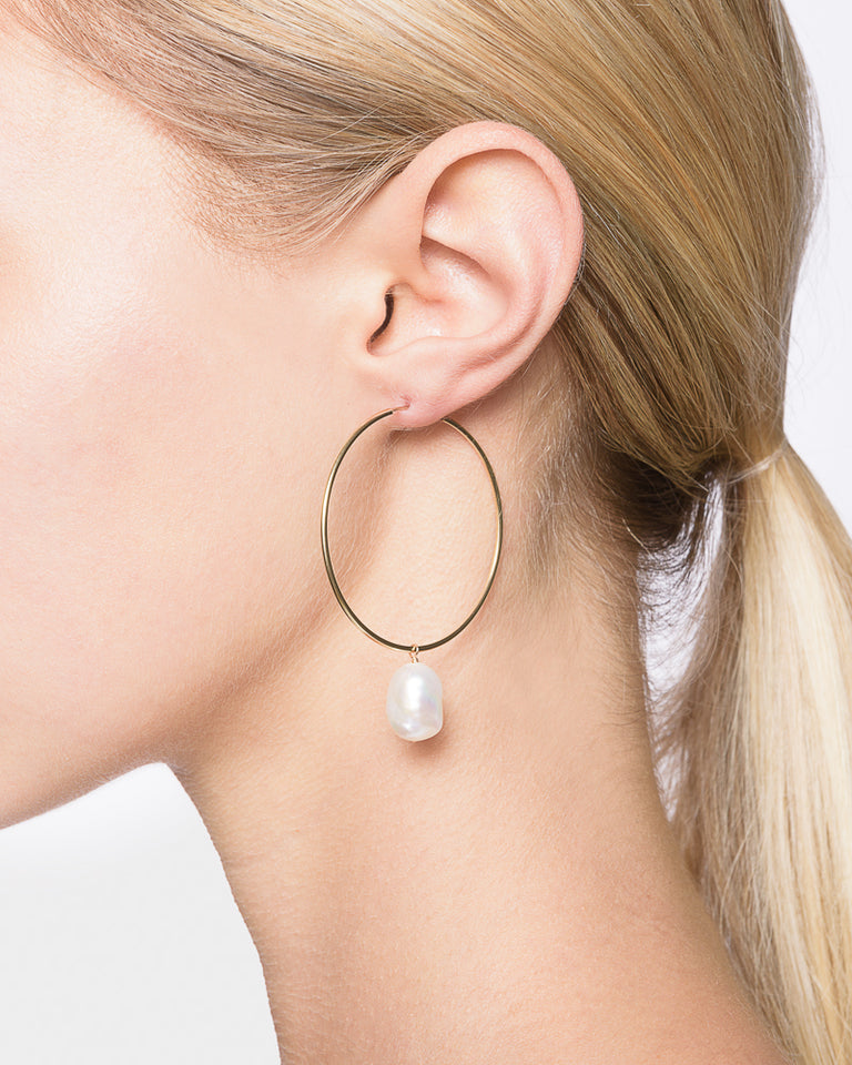 Hoop Earrings with Small Baroque Pearl Charm in 14k Yellow Gold