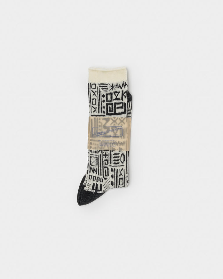 Symbols Socks in Charcoal / Cream