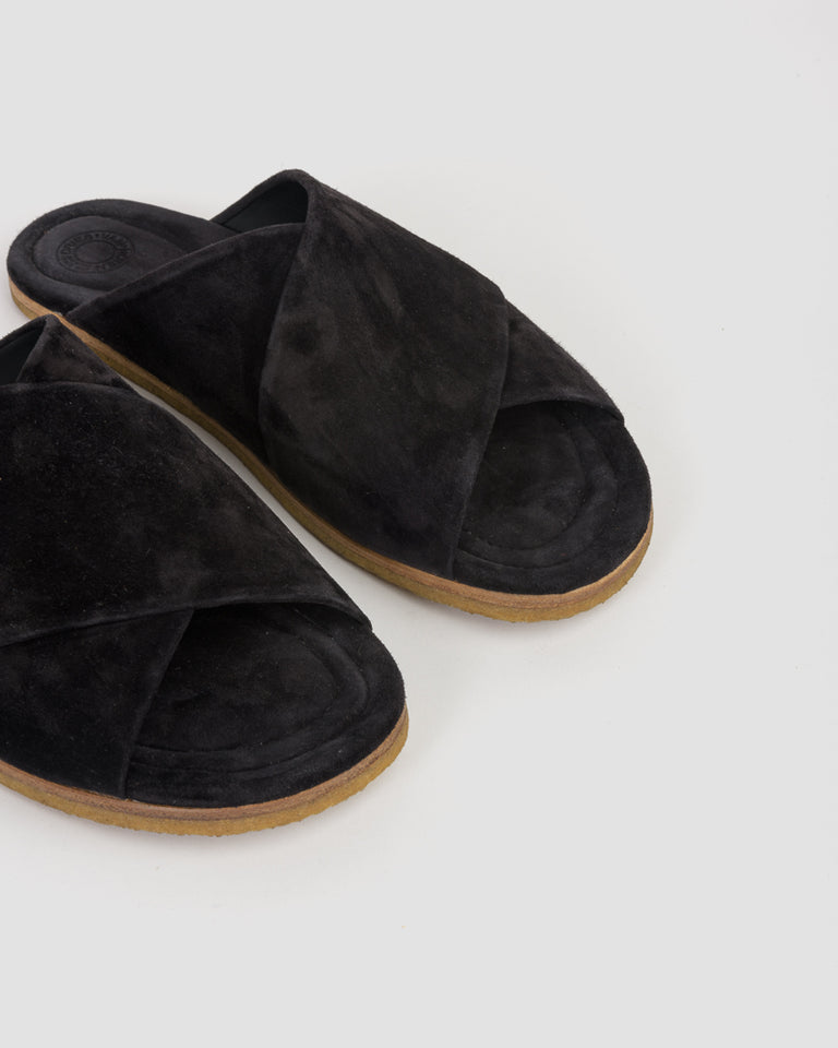 Suede Slippers in Black
