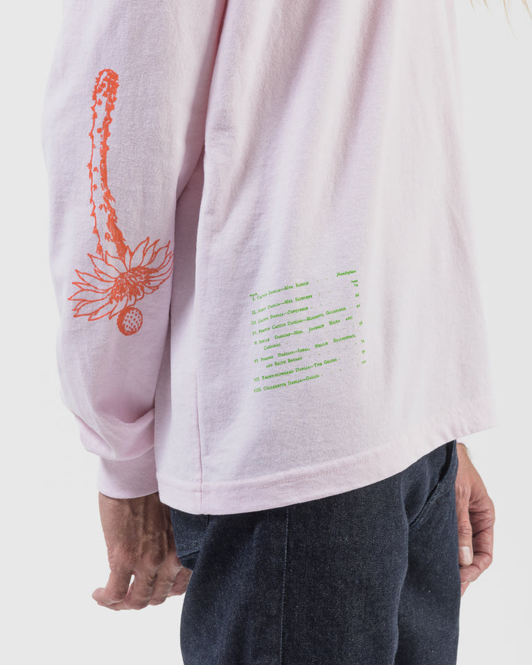 Long Sleeve Tee with Cacti Screenprint in Pink