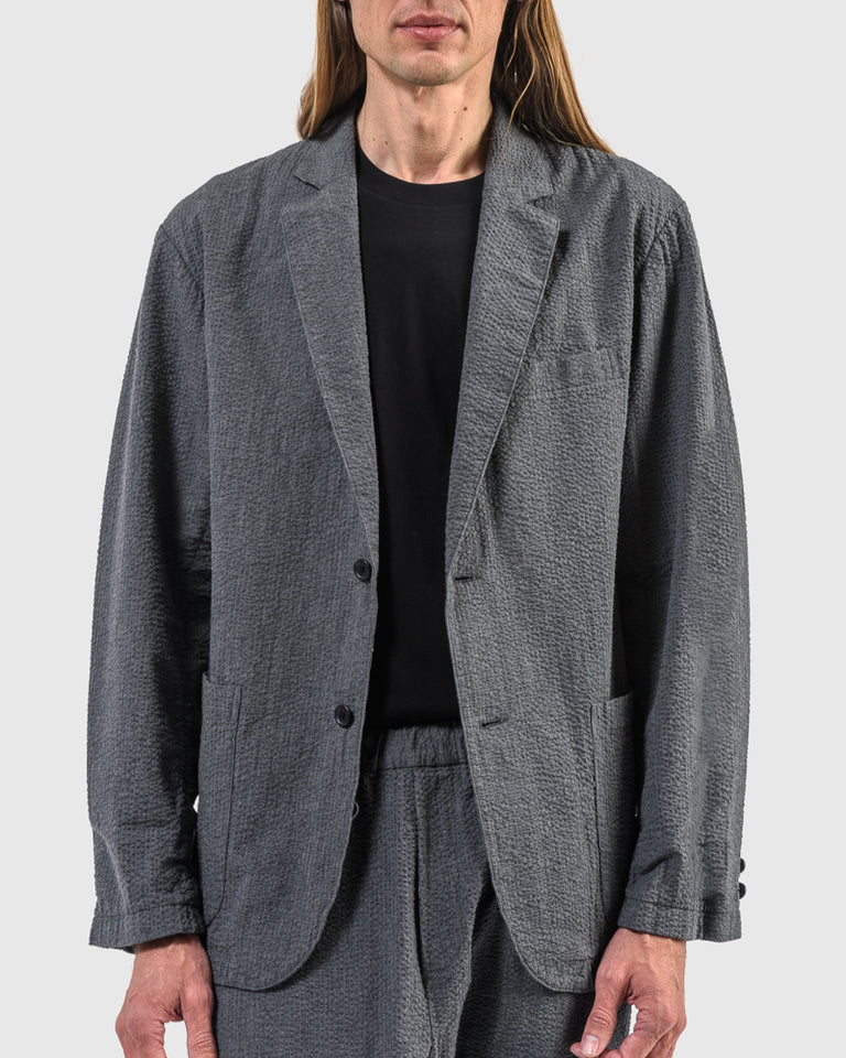 Seersucker Blazer in Smoke