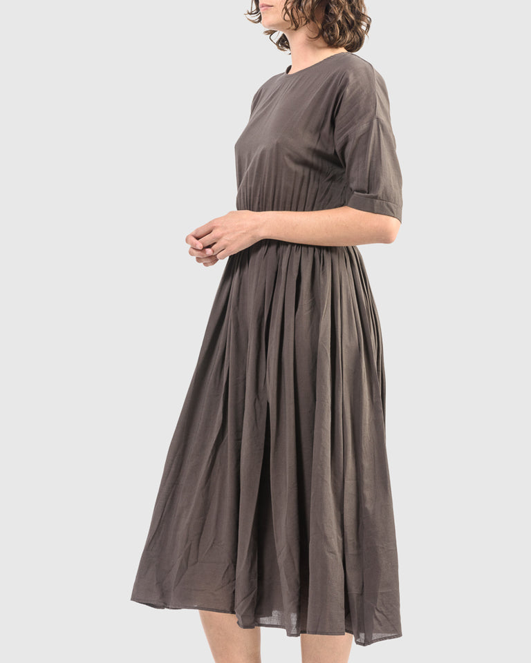 Pleated Dress in Charcoal