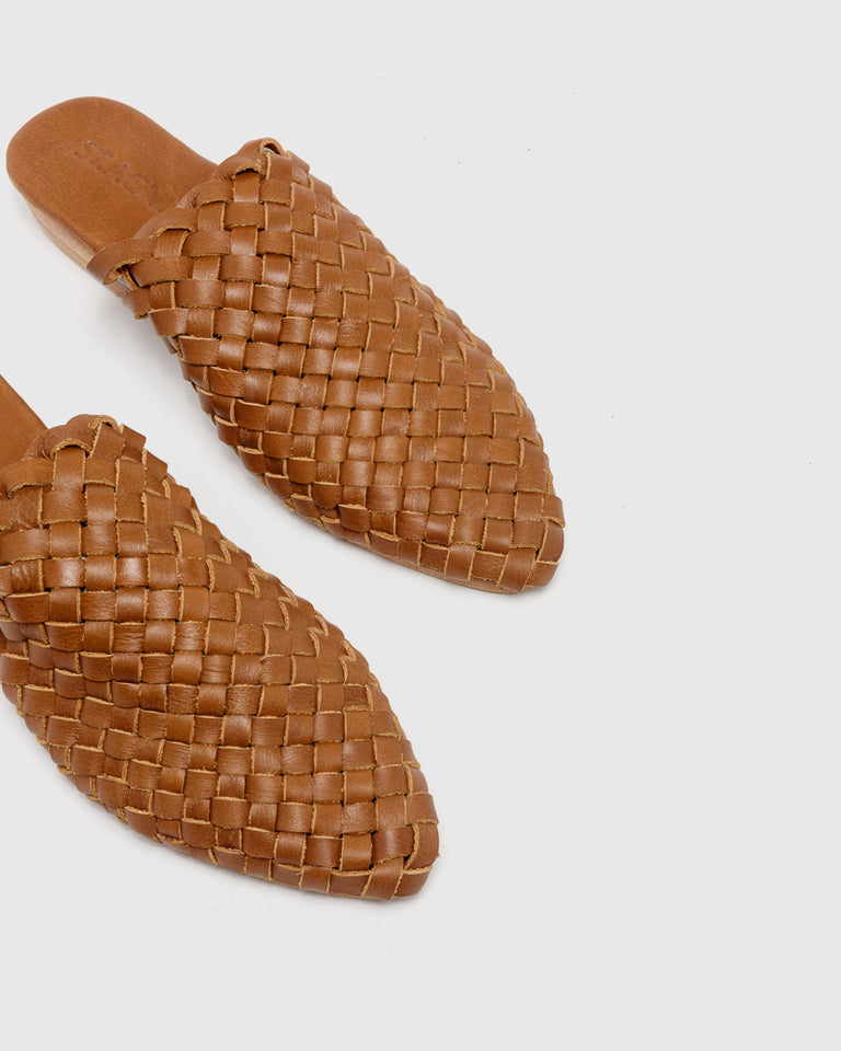 Paris Woven Mules in Vintage Tan