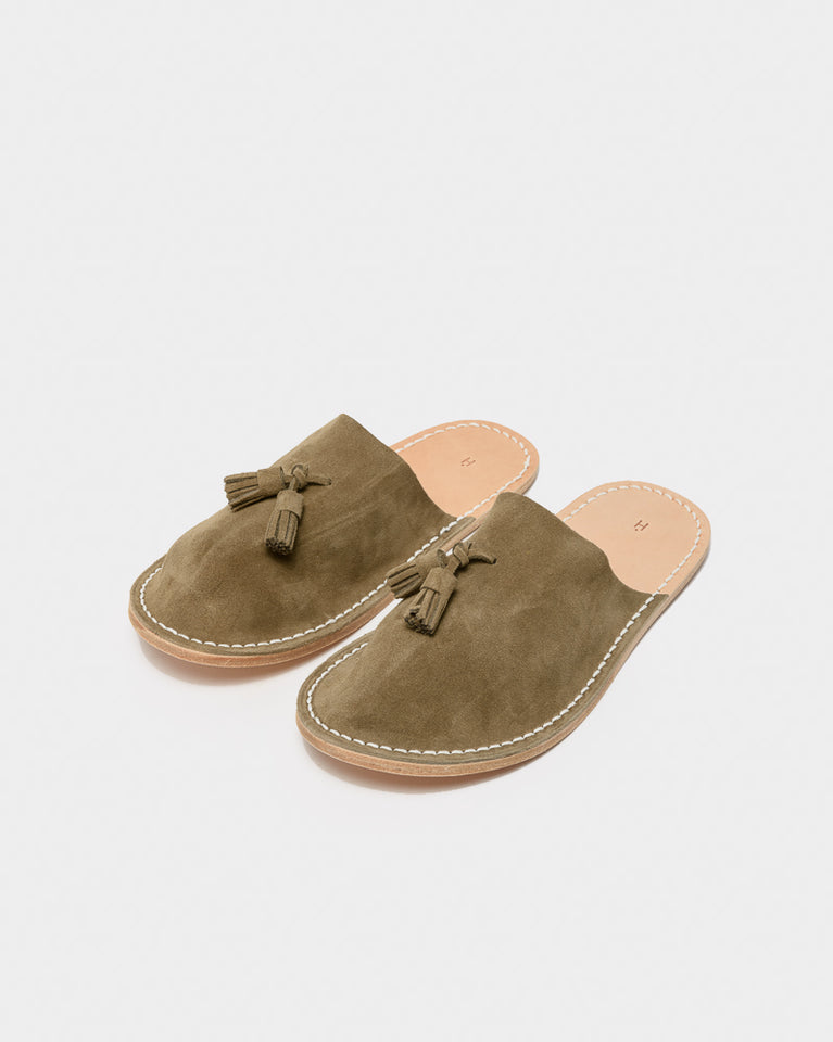 Leather Slipper in Beige