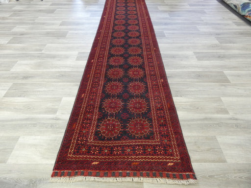 Afghan Hand Knotted Khal Mohammadi Runner Size: 387 x 88cm