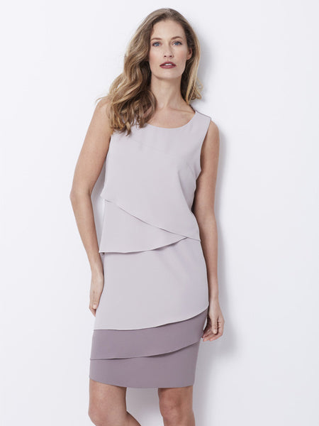 Calaluna Taupe Tiered Shift Dress