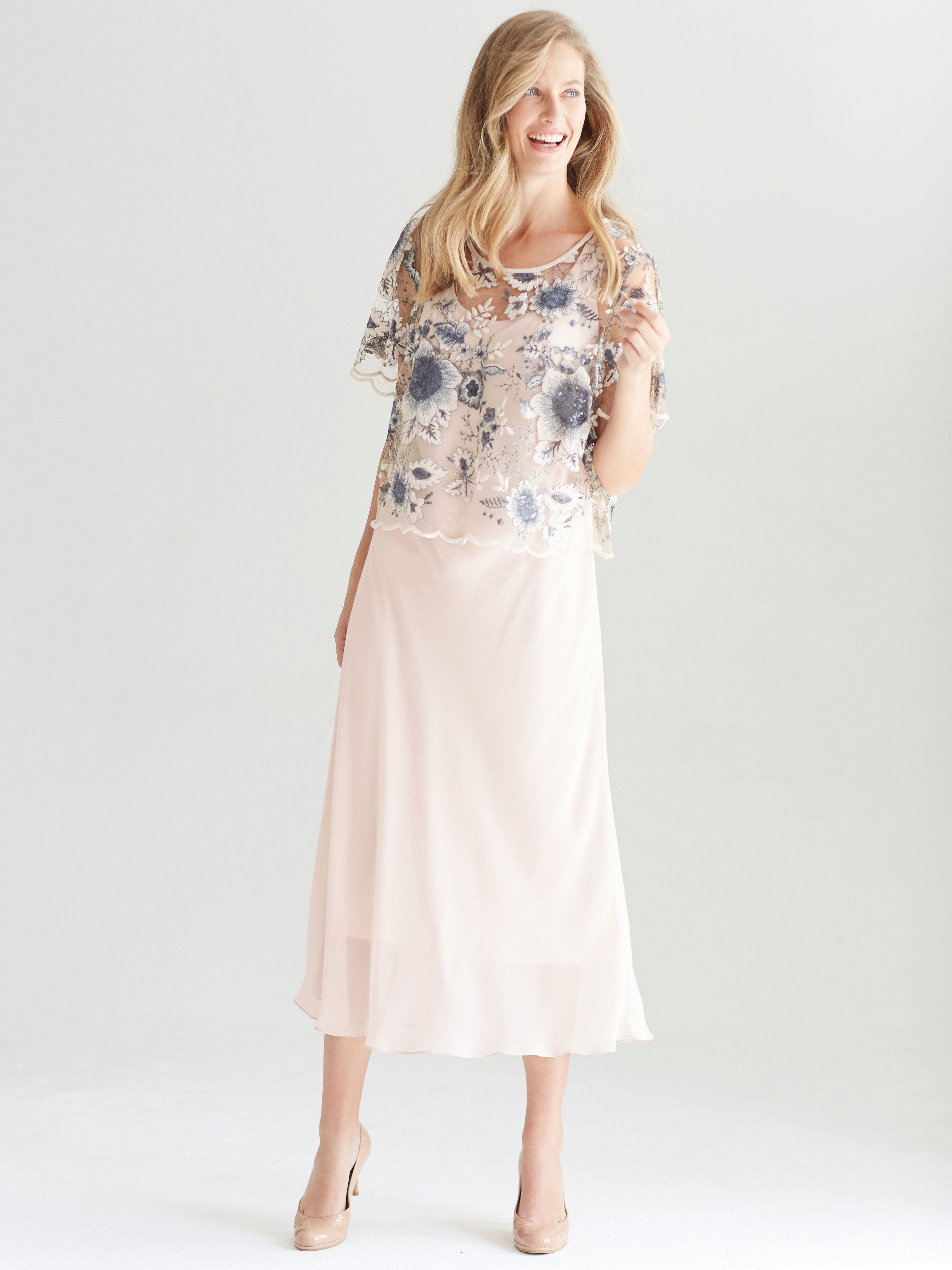 Blush Contrast Sequin Embroidered overtop with chiffon Dress