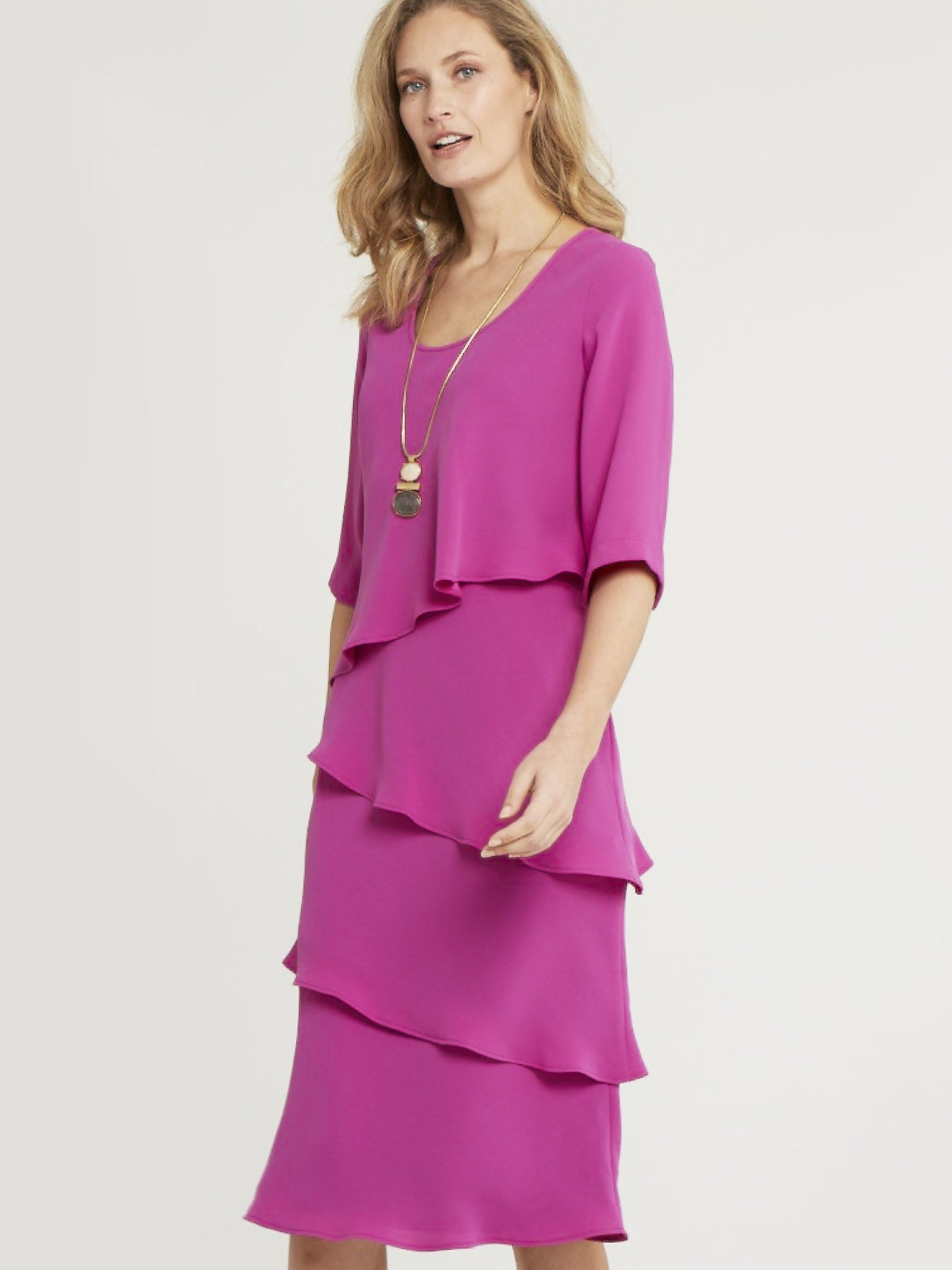 Magenta Multi Layered Crepe Dress  - Pre Order 19th July
