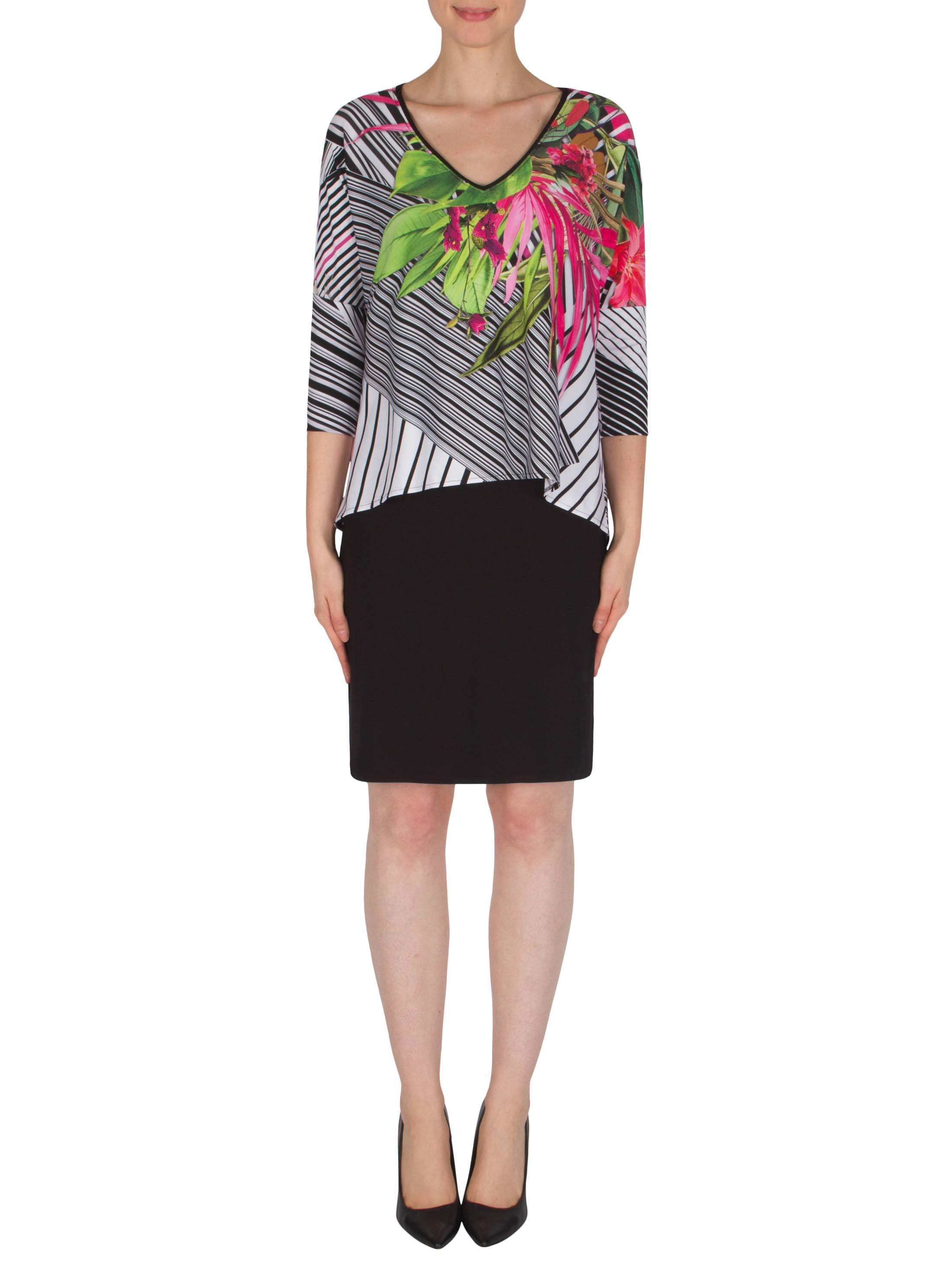 Joseph Ribkoff Black/White/Pink Dress with Printed Over layer